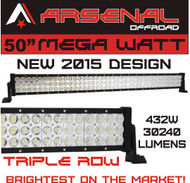 50 inch TRI-ROW MEGA WATT 432W LED Light Bar by Arsenal Offroad TM spot flood combo beam Lumens 30240LM Great for Offroad Trucks 4x4 radius fog, Jeeps, Truck, UTV SUV 4WD FREE WIRE HARNESS