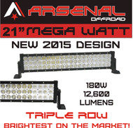 "22"" MEGA WATT TRI-ROW Arsenal Offroad LED Light Bar 20"" of LED's 180w 12,600 Lumen, Off Road, Polaris RZR, UTV, Raptor, Jeep, Bumper Rock, FREE Wire Harness"