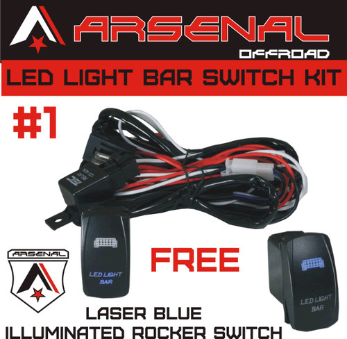 arsenal offroad tm 40 amp relay 30amp fuse laser blue led light jeep tj rocker switch wiring Jeep Rocker Switch Wiring arsenal offroad tm 40 amp relay 30amp fuse laser blue led light bar spst on off rocker switch wiring harness kits great for utv suv off road boats jeeps