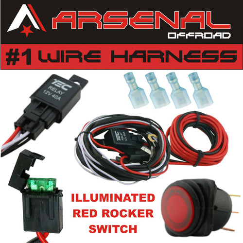 1 40 amp universal wiring harness comes with 40 relay illuminated rh arsenal offroad com Ford Truck Tail Light Wiring 2008 F 150 Truck Light Wiring