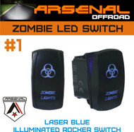 Zombie Laser Blue Rocker Switch by Arsenal Offroad 20 Amp Illuminated Laser Blue LED's SPST, 4X4 Jeep Polaris RZR Rapator Trucks RV UTV Powersports