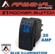 Arsenal Offroad 20 Amp Blue Light Rocker Switch Kit 4X4 Jeep Polaris RZR Rapator Trucks RV UTV Powersports