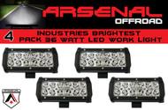"#1 4x 7"" 36W Arsenal Offroad LED Light Bar 6"" of LED's Super Spot Beam-3w LED's 36w 3,600 Lumen, Off Road, Polaris RZR, UTV, Trucks, Raptor, Jeep, Bumper Rock (4 PACK)"