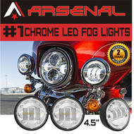 #1 4.5 Inch 5D 30W Chrome LED Projector Auxilary Fog Lights Super Bright Motorcycle Passing Fog Lamps For Harley Davidson (2-Pack)
