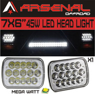 "#1 7""x6"" Chrome Crystal 45W LED Headlight by Arsenal Offroad TM H6014 H6052 H6054 (1 PC)"
