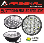 "#1 5.75"" 5-3/4"" Chrome 36W Crystal LED Headlight by Arsenal Offroad TM Sealed Beam Replacement HID Xenon Upgrade 4000 4040 5506 H5006 (2 PC)"