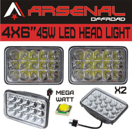 "#1 4""x6"" Chrome Crystal 45W LED Headlight by Arsenal Offroad TM Sealed Beam Replacement HID Xenon H4651 H4652 H4656 H4666 H6545 (2 PC)"