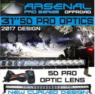 "No.1 31"" 5D Pro Optic Single Row Curved LED Light Bar Spot/Flood Combo Beam-CREE 5w LED's 150w 18,000LM Off Road Polaris RZR UTV Trucks Raptor Jeep Bumper Rock"