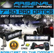 "No.1 7"" 5D Projector Pro Optic Single Row Arsenal Light Bar with 5W Cree LED's Super Combo LED Light Bar 30W 2,400 Lumen Off Road Polaris RZR UTV Raptor Jeep Bumper Rock FREE LED LIGHT BAR SWITCH KIT"