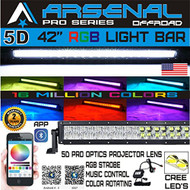 No.1 5D 42 inch Pro Series RGB CREE LED Light Bar 16 Million Colors Strobe Flashing Bluetooth Offroad Truck RZR SUV SxS