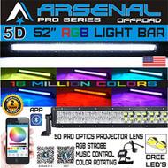 No.1 5D 52 inch Pro Series RGB CREE LED Light Bar 16 Million Colors Strobe Flashing Bluetooth Offroad Truck RZR SUV SxS
