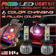 H4 2 in1 RGB LED Headlight Bulb Kit - Smartphone App-Controled Bluetooth RGB Demon Eye + LED Headlight Color Changing Strobe & Music feature (H4 / 9003 / HB2)
