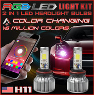 H11 2 in1 RGB LED Headlight Bulb Kit - Smartphone App-Controlled Bluetooth RGB Demon Eye + LED Headlight Color Changing Strobe & Music feature (H11)