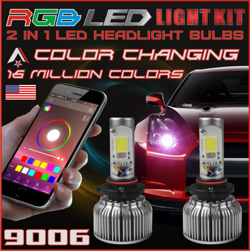 9006 2 In1 Rgb Led Headlight Bulb Kit Smartphone App