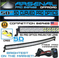 No.1 5D 50 inch Curved Pro Optics 288W 5D=480W 48,000LM CREE LED Light Bar by Arsenal Offroad TM for Extreme Offroad 5D Spot Flood Combo beam Trucks 4x4 Jeep SUV FREE LED LIGHT BAR ROCKER SWITCH KIT
