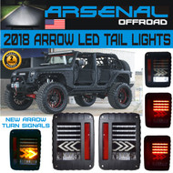2018 Jeep LED Arrow Design Tail Lights with Red LED Brake Tail Lights Assembly with Amber Arrow Rear Turn Signal 6000K Reverse Lights For Jeep Wrangler JK JKU 2007-2016