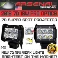 "2x 7D 4"" 18W CREE LED Diamond Series Super Spot Projector Work Lights for UTV SUV Off-Road Boats Jeep RZR Driving Fog Light Rock and Bumper Light Mounting Brackets"