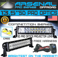 "No.1 5D 13.5"" Straight Pro Optics Arsenal LED Light Bar New 2018 Design Flood/Spot Combo Beam CREE 3w LED's 72w 5D=126w 20,000LM 4x4 Polaris RZR UTV Jeep FREE LED Light Rocker Switch Kit Harness"
