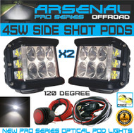 2x 45W Side Shot Pod Cubes CREE LED's Led Work Light Off Road Led Light Driving Light UTV RZR Truck Jeep FREE Wire Harness