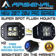 No.1 20W Pro Series LED Spot Work Light Driving Lights Led Light Bar Off Road Led Lights Flush Mount for Jeep Truck Tacoma Bumper RZR UTV