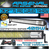"No.1 32"" Curved Pro Tri-Row Led Light Bar 405w 40500LM 7D Spot Flood Combo Beam for Off Road Jeep ATV AWD SUV 4WD 4x4 RZR CanAm"