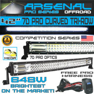 """No.1 42"""" Curved Pro Tri-Row Led Light Bar 648w 64,800LM 7D Spot Flood Combo Beam for Off Road Jeep ATV AWD SUV 4WD 4x4 RZR CanAm"""