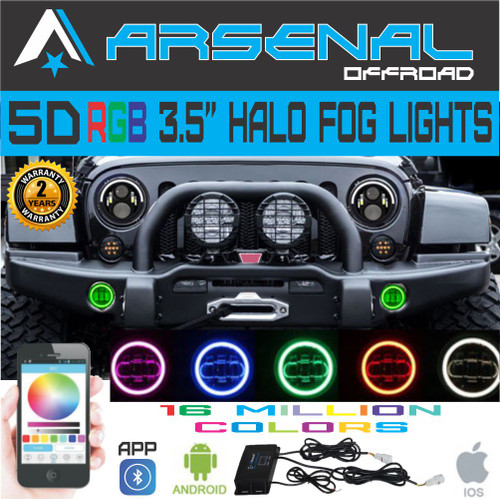 No.1 5D 4 Inch RGB 60W Cree Led Fog Lights W/ RGB Halo Ring DRL For Jeep  Wrangler 97 15 JK TJ LJ Off Road Fog Lamps