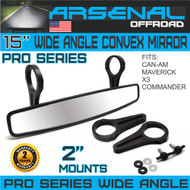"15"" Pro Wide High-Definition Arsenal Race UTV Rear View Mirror Convex Mirror with 2"" Clamp for 2.0"" Cage Can Am Commander Can Am Maverick X3 UTV"