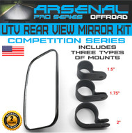 "UTV Rear View Mirror for 1.5"" 1.75"" 2"" Roll Cage with Shatter-Proof Tempered Glass Fits to Polaris Ranger, RZR Can Am Commander, Maverick Yamaha Viking, Rhino, Honda, Gator Mirrors"