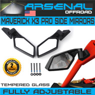 UTV Can Am X3 Side View Mirrors Arsenal Pro Series Rear View Race Mirrors for Can Am Maverick X3 2017 2018 For Suzuki Quadracer 450 2006-2009 UTV OEM Fitment (1 Pair)