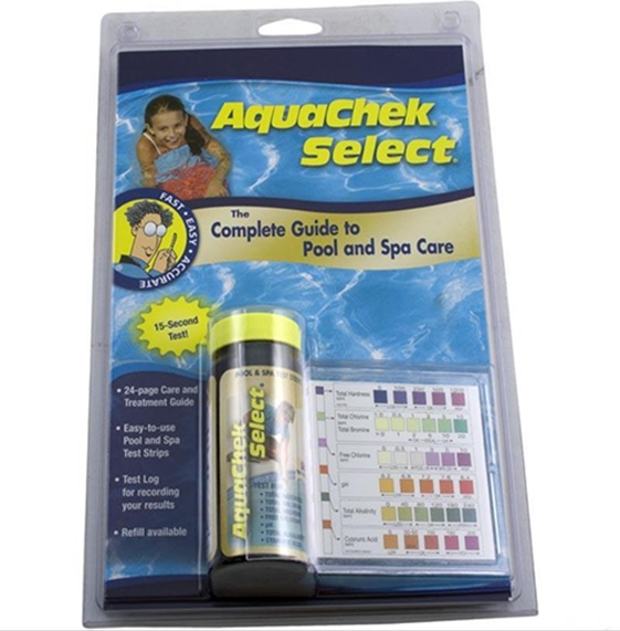 Test Strips by Aquachek which tests for these 7 parameters: Total Chlorine, Total Bromine, Free Chlorine, pH, Total Alkalinity, Total Hardness, and Cyanuric Acid (Stabilizer)