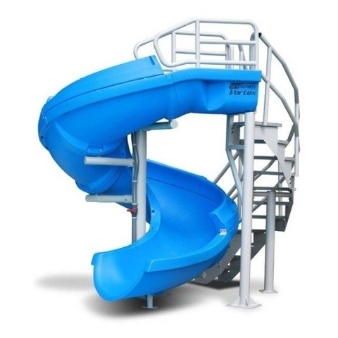 SR Smith Vortex Pool Slide, Blue, Half Tube With Stairs