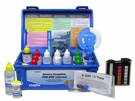Test Kit from Taylor Technologies to test your pool for: Calcium Hardness, Free and Total Chlorine, Bromine, pH, Total Alkalinity, Acid and Base Demand, and Stabilizer levels.