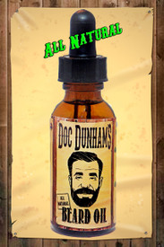 Doc Dunham's Beard Oil is made with all natural oils.  Not sticky, not a heavy duty oil, it's just right.  Fractionated Coconut Oil, Golden Jojoba Oil, Hemp Seed Oil, Tea Tree Essential Oil, Orange Bitter Essential Oil, Peppermint Supreme Essential Oil.