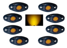 Amber Rock Light Kit 8x LED for crawling under body frame fender 4x4 offroad