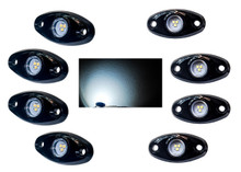 White Rock Light Kit 8x LED for crawling under body frame fender 4x4 offroad