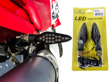 Motorcycle Turn Signal Red LED Light Rear Dual Intensity Smoke Lens 12 Volts Universal Blinker