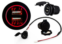 Red LED Dual USB Port Fast Charger Socket Power Outlet 1.0A 2.1A Car ATV Truck Boat Motorcycle 12 volt