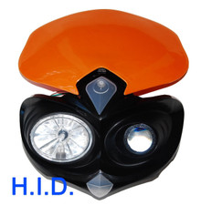 HID Head Light Ktm Orange Dual Sport Dirt Bike Custom Motorcycle Xenon MXC EXC