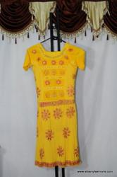 Yellow Frill Floral Churidar Suit