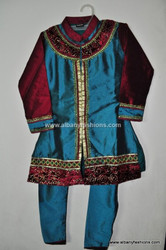 Blue Red Girls Churidar Set Size 30
