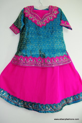 Blue Pink Ghagara Choli for Girls Size 34