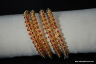 Gold Plated red studded stones Bangles (4 pieces)