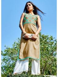 2015 Pakistani Long Kurti - Brown Sleevless