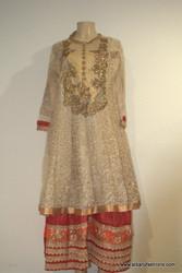 2000 Anarkali Churidar Suit-Cream