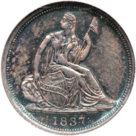 1837 Liberty Seated Half Dime, No Stars, Small Date. NGC graded MS-64.