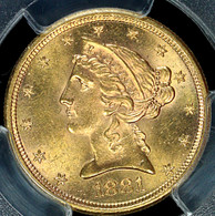 1881-S $5 Gold Liberty PCGS MS64+
