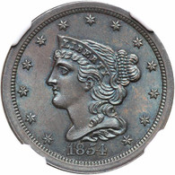 1854 Braided Hair Half Cent, NGC MS65BN, TONED