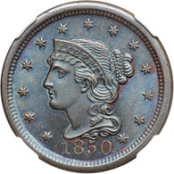 1850 Braided Hair Large Cent, NGC MS66BN TONED