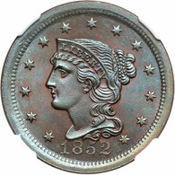 1852 Braided Hair Large Cent - NGC MS66 BN - A Blue Toned GEM